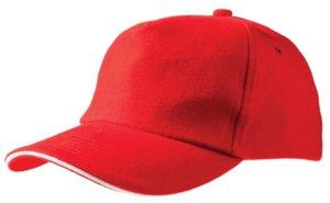 Бейсболка Unit Classic, красная с белым кантом