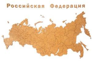Деревянная карта России с названиями городов, коричневая