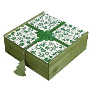Коробка деревянная, зеленая