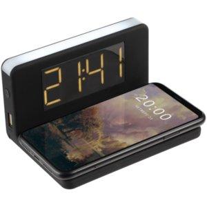 Часы настольные с беспроводным зарядным устройством Pitstop, черный