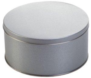 Коробка круглая, средняя, серебристая