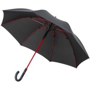 Зонт-трость с цветными спицами Color Style ver.2, красный, с серой ручкой