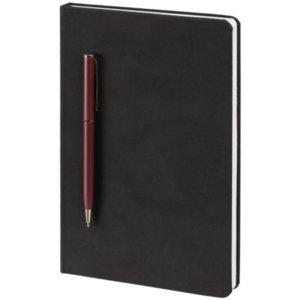 Блокнот Magnet Gold с ручкой, черно-бордовый