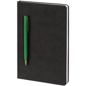 Блокнот Magnet Gold с ручкой, черно-зеленый