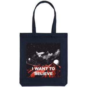 Холщовая сумка «I want to believe», тёмно-синяя