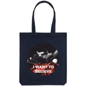 Холщовая сумка «I want to believe in», тёмно-синяя