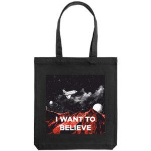 Холщовая сумка «I want to believe», чёрная