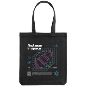 Холщовая сумка «First man in space. Purple», чёрная