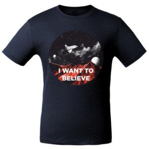 Футболка «I want to believe» , тёмно-синяя