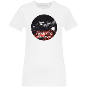 Футболка женская стрейч «I want to believe» , белая