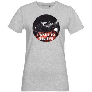 Футболка женская стрейч «I want to believe» , серая