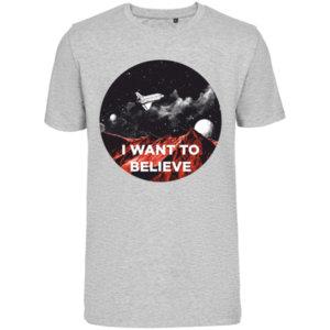 Футболка стрейч «I want to believe» , серая