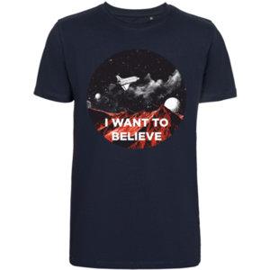 Футболка стрейч «I want to believe» , тёмно-синяя