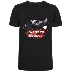 Футболка стрейч «I want to believe», чёрная
