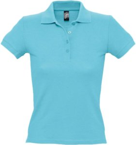 Рубашка поло женская PEOPLE 210, бирюзовая