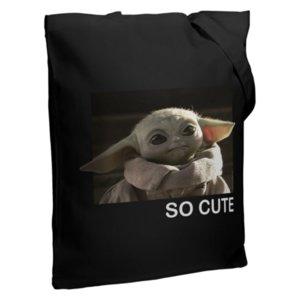Холщовая сумка Baby Yoda, черная