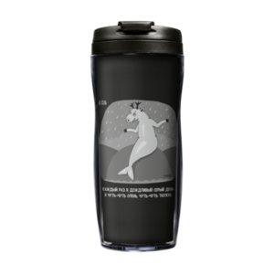 Термостакан «Олень Тюлень», с черной крышкой
