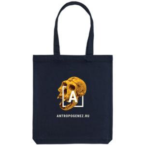 Холщовая сумка «Антропогенез», тёмно-синяя