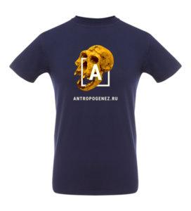 Футболка  «Антропогенез», тёмно-синяя