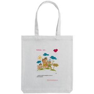 Холщовая сумка «Любовь в палеолите - 7», белая