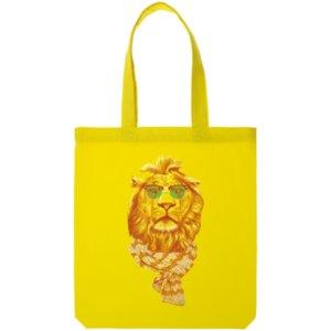 Холщовая сумка «Лев», желтая