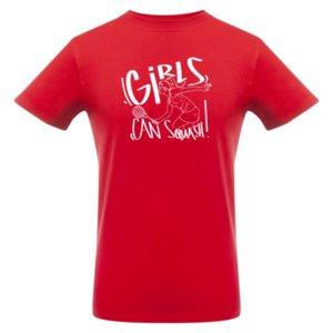 Футболка «Girls can squash», красная