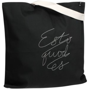 Холщовая сумка с вышивкой Esto Quod Es, черная