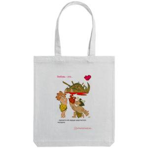 Холщовая сумка «Любовь в палеолите - 29», белая