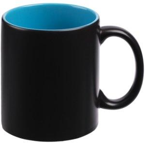 Кружка-хамелеон On Display, матовая, голубая с черным