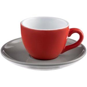 Чайная пара Cozy Morning, красная с серым