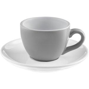 Чайная пара Cozy Morning, серая с белым