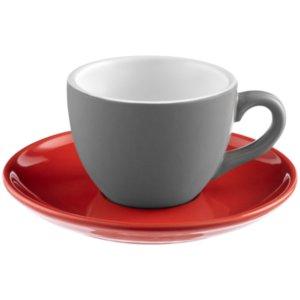 Чайная пара Cozy Morning, серая с красным