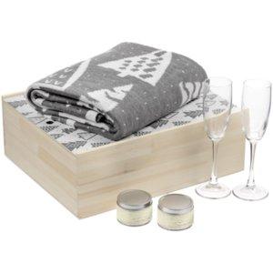 Набор с пледом и бокалами для шампанского «Снежность», ваниль
