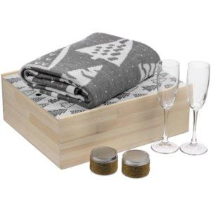 Набор с пледом и бокалами для шампанского «Снежность», кофе