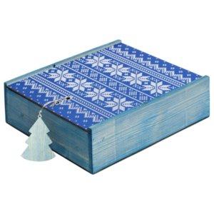 Коробка деревянная «Скандик», большая, синяя
