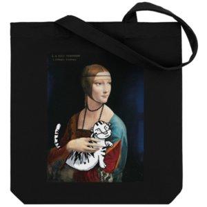 Холщовая сумка «Дама с тигром», черная