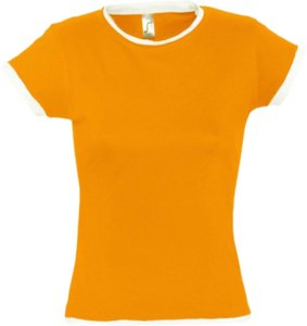 Футболка женская MOOREA 170, оранжевая с белой отделкой