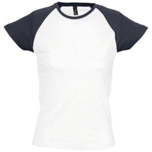 Футболка женская MILKY 150, белая с темно-cиним